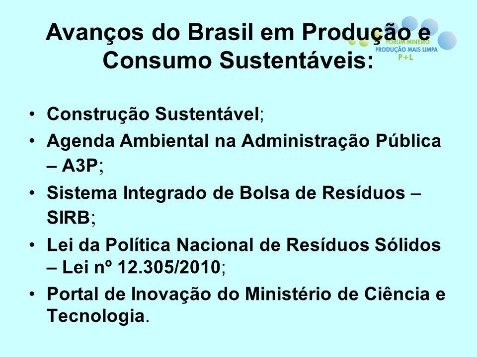 Avanços do Brasil em Produção e Consumo Sustentáveis: Construção Sustentável; Agenda Ambiental na Administração Pública – A3P ; Sistema Integrado de B
