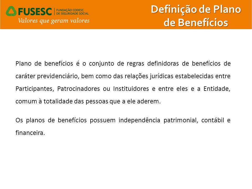Definição de Plano de Benefícios Plano de benefícios é o conjunto de regras definidoras de benefícios de caráter previdenciário, bem como das relações