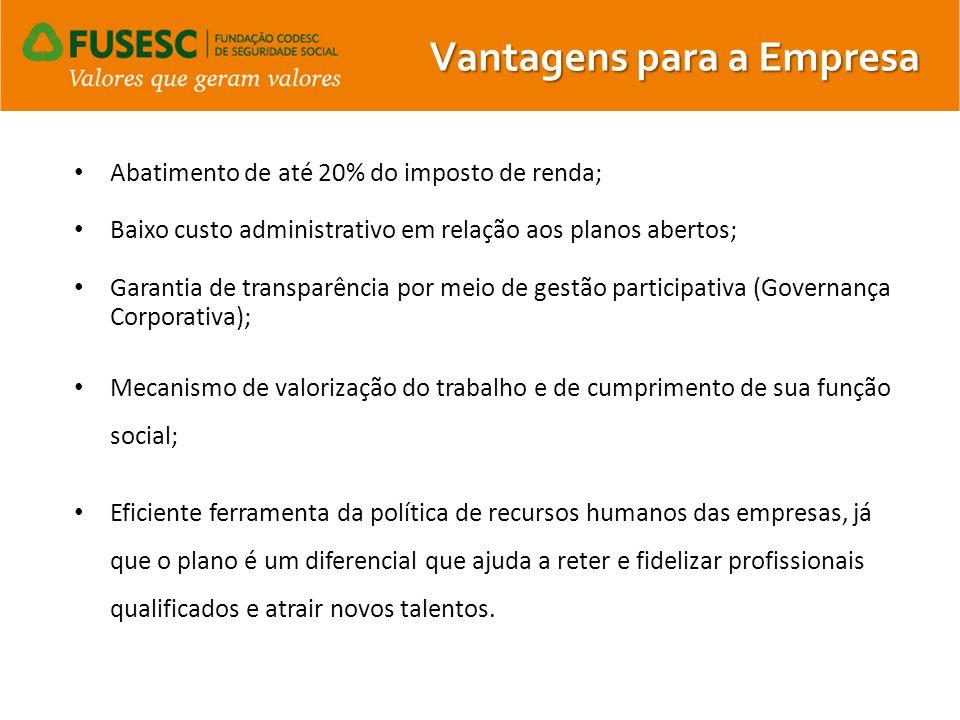 Abatimento de até 20% do imposto de renda; Baixo custo administrativo em relação aos planos abertos; Garantia de transparência por meio de gestão part