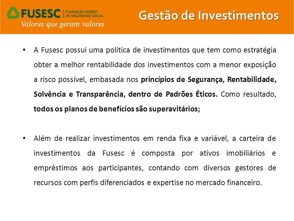A Fusesc possui uma política de investimentos que tem como estratégia obter a melhor rentabilidade dos investimentos com a menor exposição a risco pos