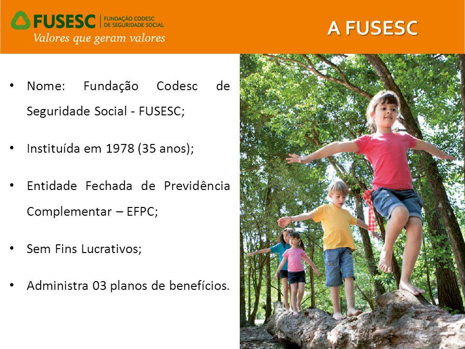 Nome: Fundação Codesc de Seguridade Social - FUSESC; Instituída em 1978 (35 anos); Entidade Fechada de Previdência Complementar – EFPC; Sem Fins Lucra