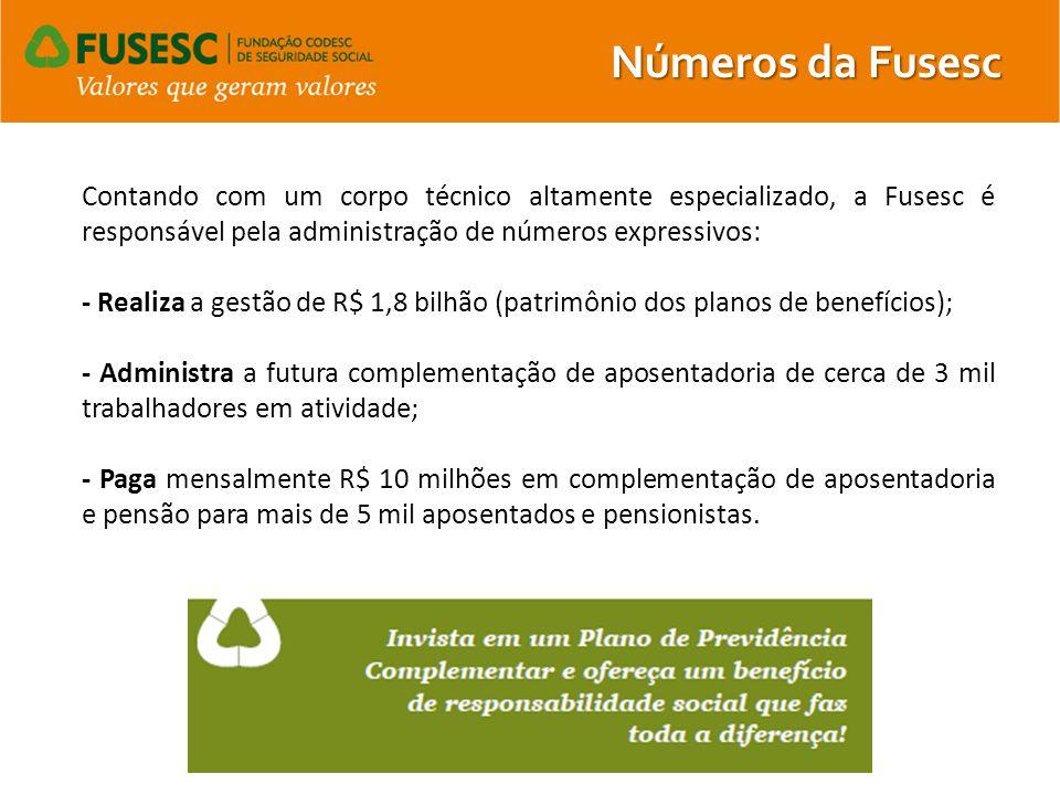 Contando com um corpo técnico altamente especializado, a Fusesc é responsável pela administração de números expressivos: - Realiza a gestão de R$ 1,8