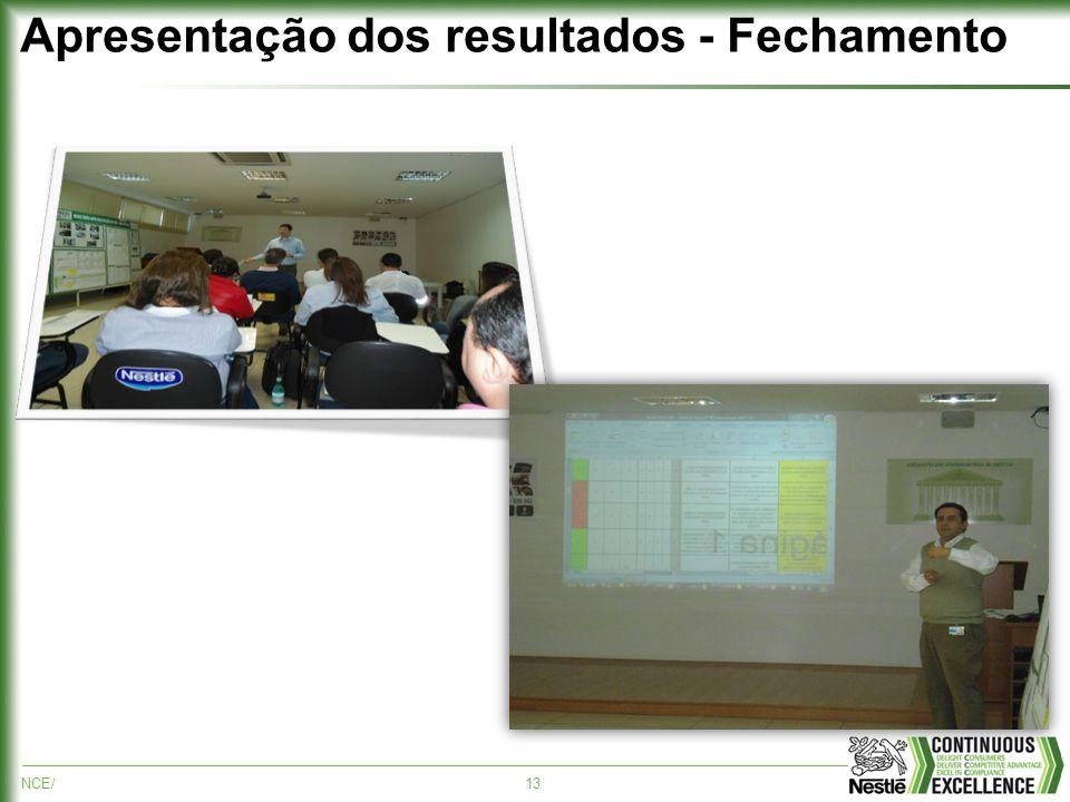 NCE/13 Apresentação dos resultados - Fechamento