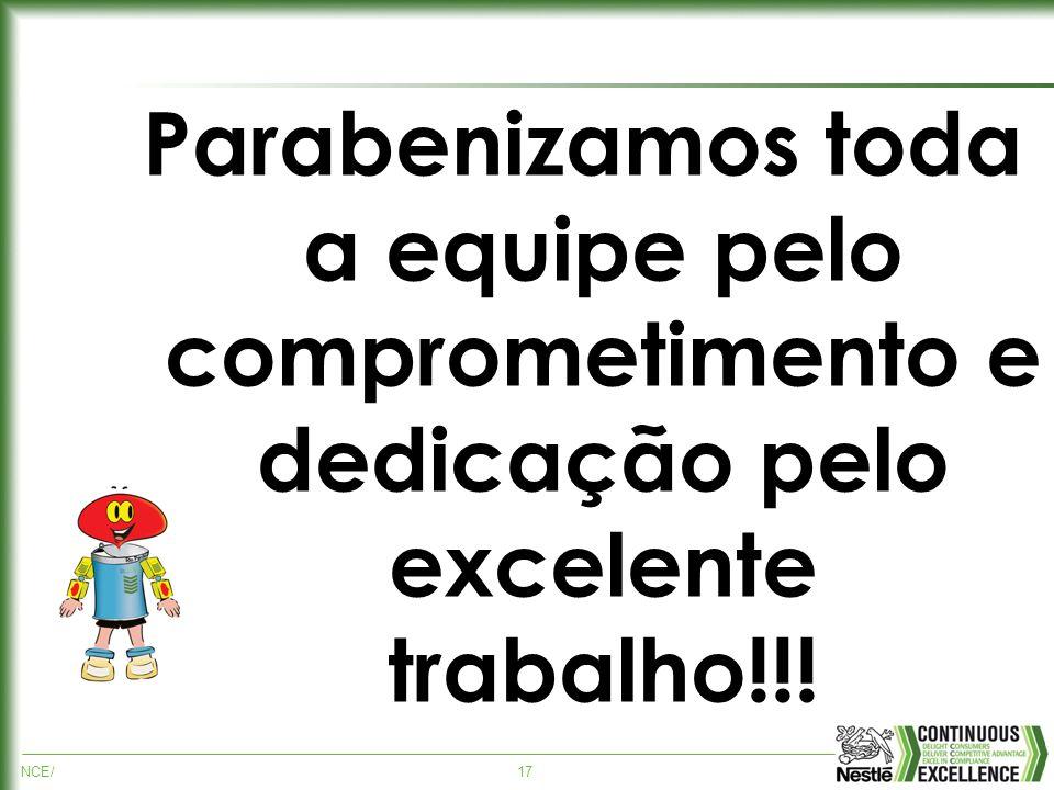 NCE/17 Parabenizamos toda a equipe pelo comprometimento e dedicação pelo excelente trabalho!!!