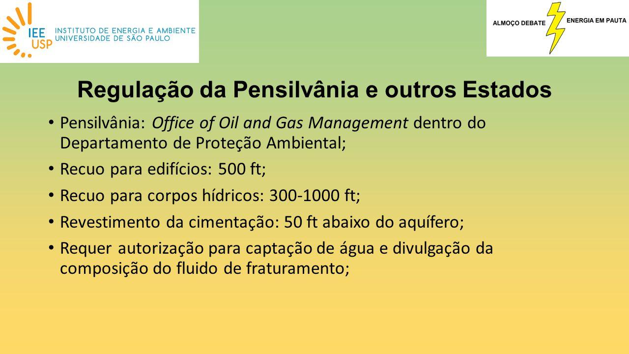 Pensilvânia: Office of Oil and Gas Management dentro do Departamento de Proteção Ambiental; Recuo para edifícios: 500 ft; Recuo para corpos hídricos:
