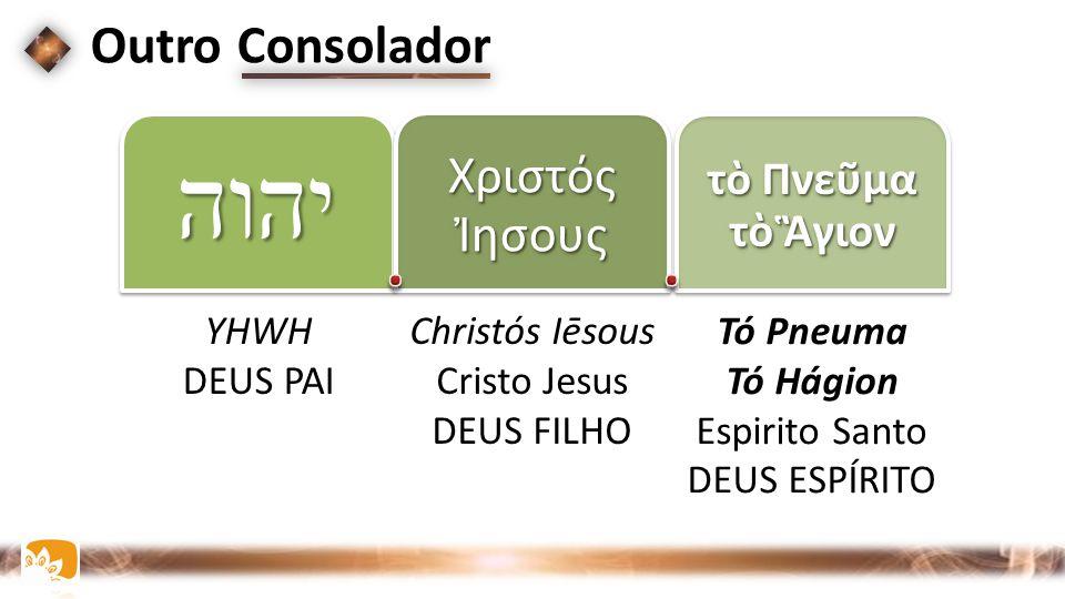 יהוה Χριστός Ἰησους τὸ Πνεῦμα τὸ Ἃγιον Outro Consolador YHWH DEUS PAI Christós Iēsous Cristo Jesus DEUS FILHO Tó Pneuma Tó Hágion Espirito Santo DEUS