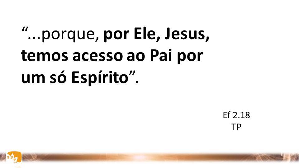 """""""...porque, por Ele, Jesus, temos acesso ao Pai por um só Espírito"""". Ef 2.18 TP"""