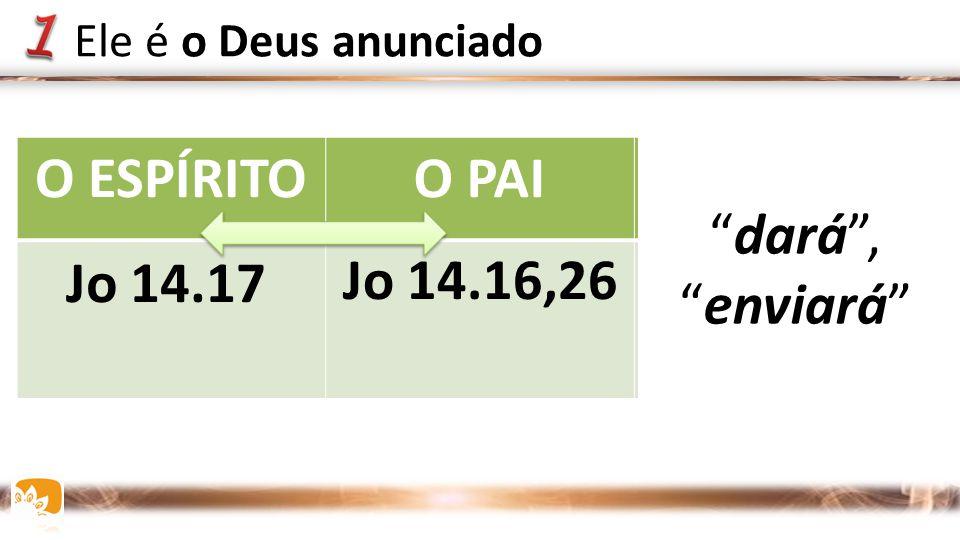 """O ESPÍRITOO PAIJESUS Jo 14.16,26Jo 15.26 16.7 Jo 14.17 """"dará"""", """"enviará"""" Ele é o Deus anunciado"""