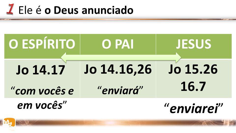 """O ESPÍRITOO PAIJESUS Jo 14.16,26Jo 15.26 16.7 Jo 14.17 """"enviarei"""" Ele é o Deus anunciado """"com vocês e em vocês"""" """"enviará"""""""