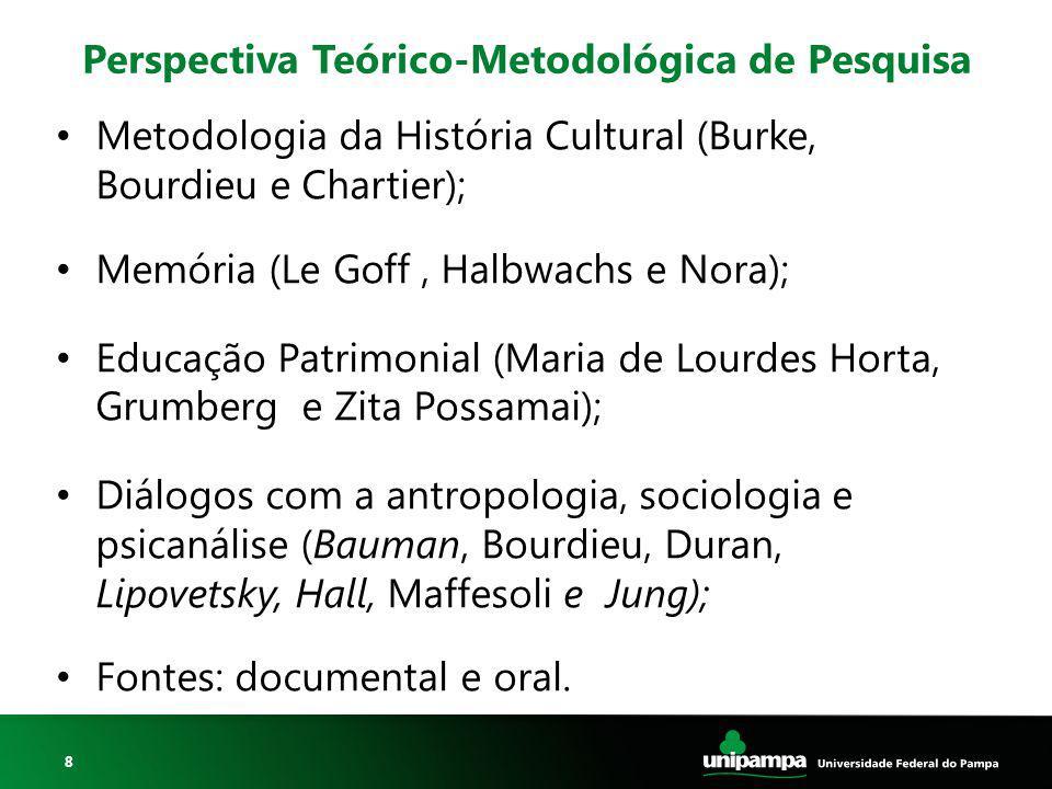8 Perspectiva Teórico-Metodológica de Pesquisa Metodologia da História Cultural (Burke, Bourdieu e Chartier); Memória (Le Goff, Halbwachs e Nora); Edu