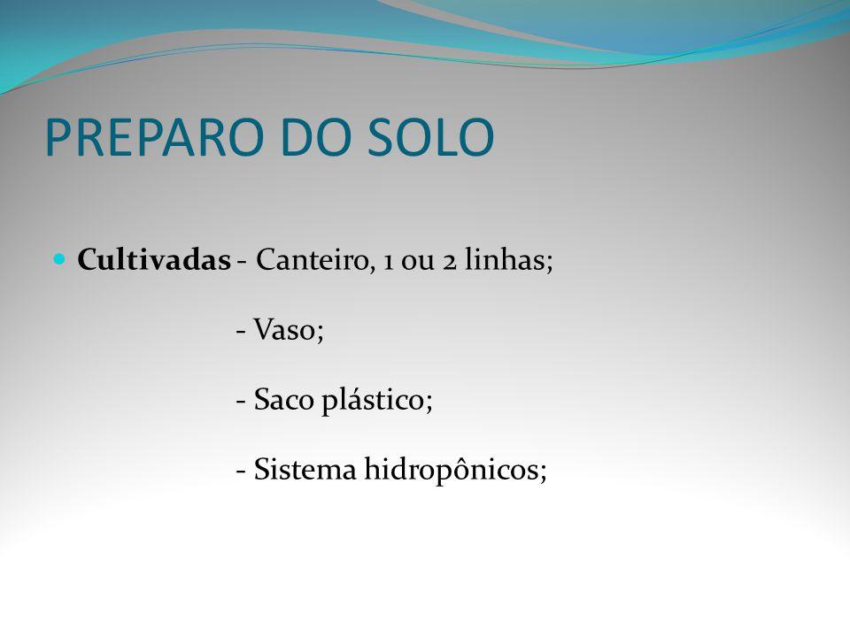PREPARO DO SOLO Cultivadas - Canteiro, 1 ou 2 linhas; - Vaso; - Saco plástico; - Sistema hidropônicos;