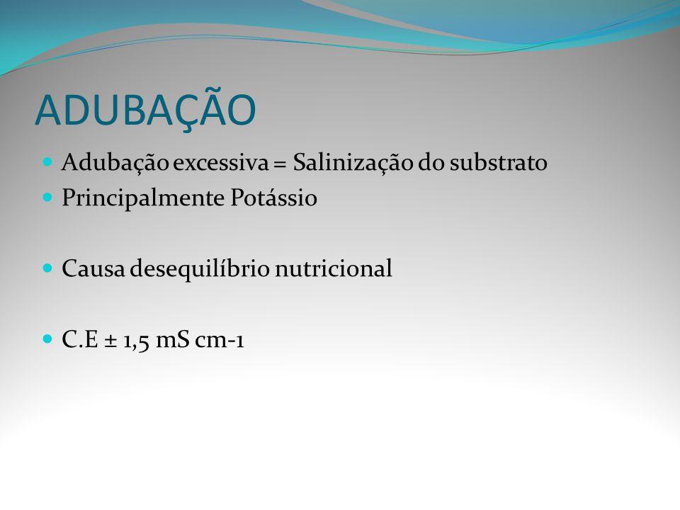 ADUBAÇÃO Adubação excessiva = Salinização do substrato Principalmente Potássio Causa desequilíbrio nutricional C.E ± 1,5 mS cm-1