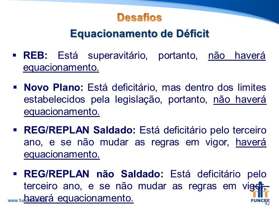  REB: Está superavitário, portanto, não haverá equacionamento. 42  Novo Plano: Está deficitário, mas dentro dos limites estabelecidos pela legislaçã