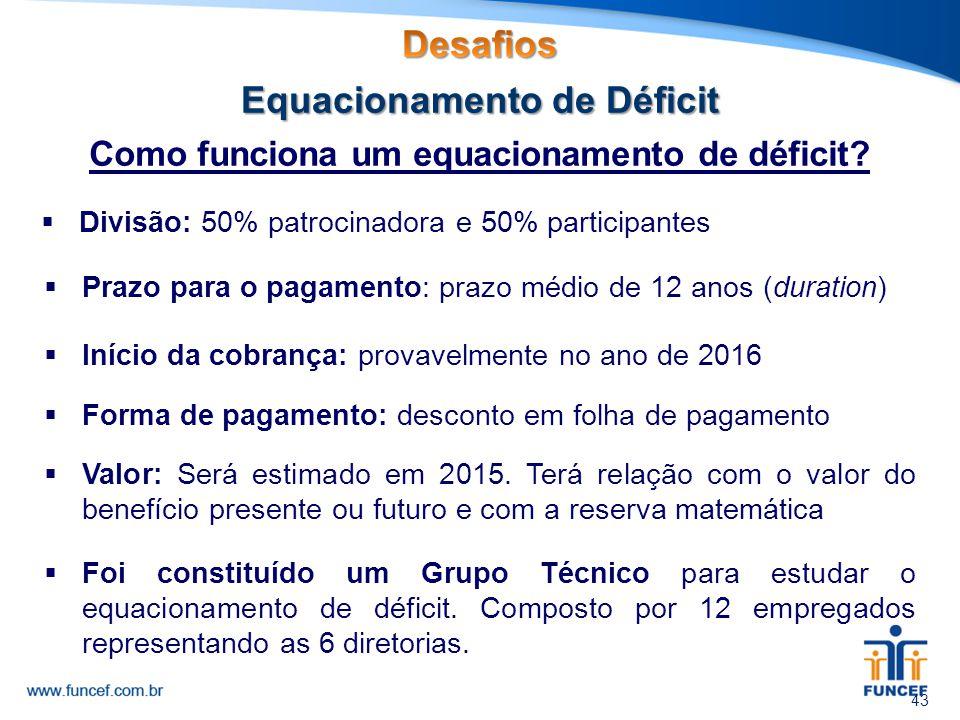 Como funciona um equacionamento de déficit? 43  Divisão: 50% patrocinadora e 50% participantes  Prazo para o pagamento: prazo médio de 12 anos (dura