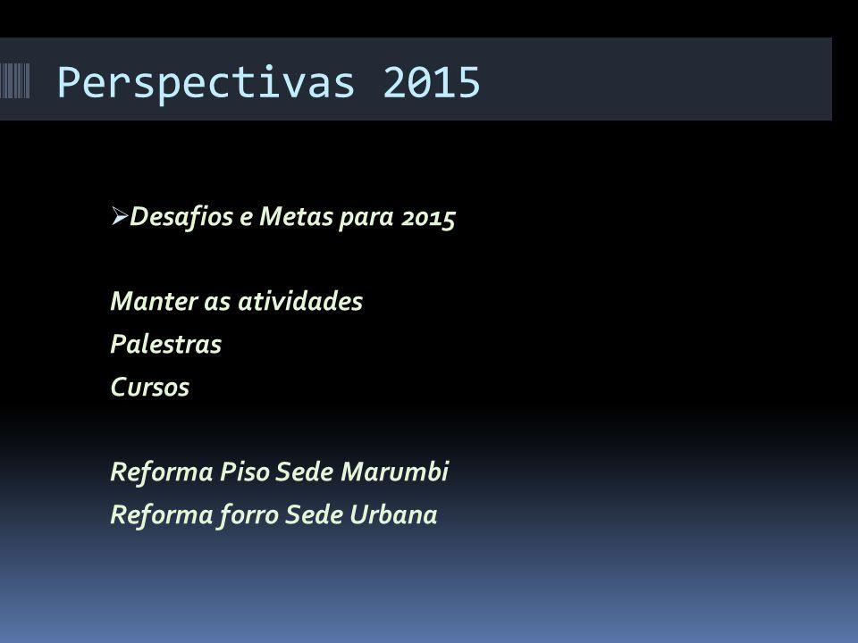 Perspectivas 2015  Desafios e Metas para 2015 Manter as atividades Palestras Cursos Reforma Piso Sede Marumbi Reforma forro Sede Urbana