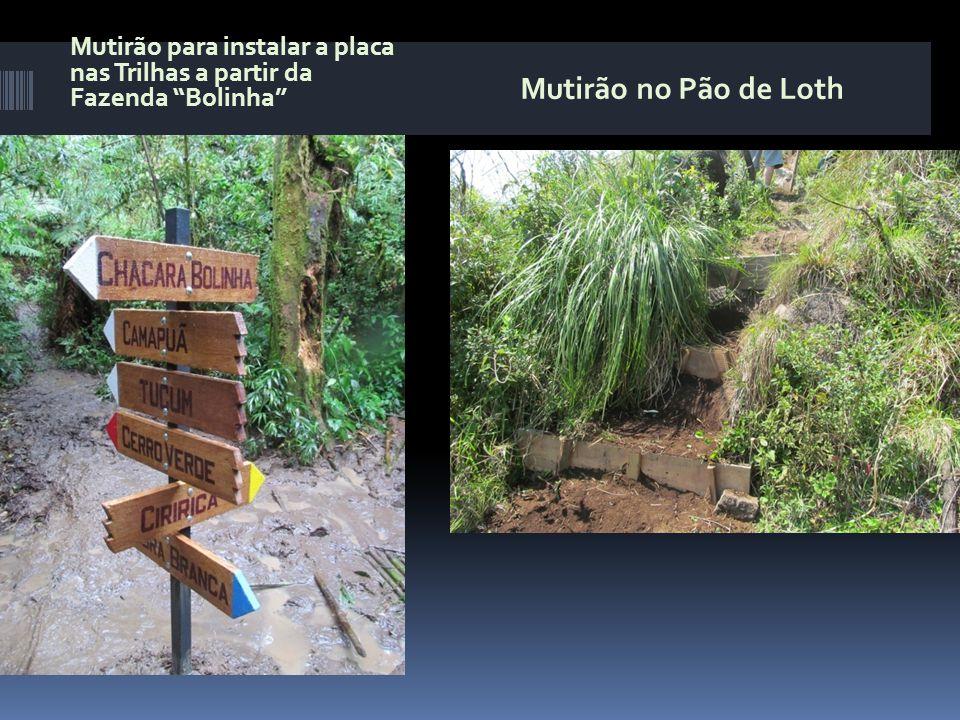 """Mutirão para instalar a placa nas Trilhas a partir da Fazenda """"Bolinha"""" Mutirão no Pão de Loth"""