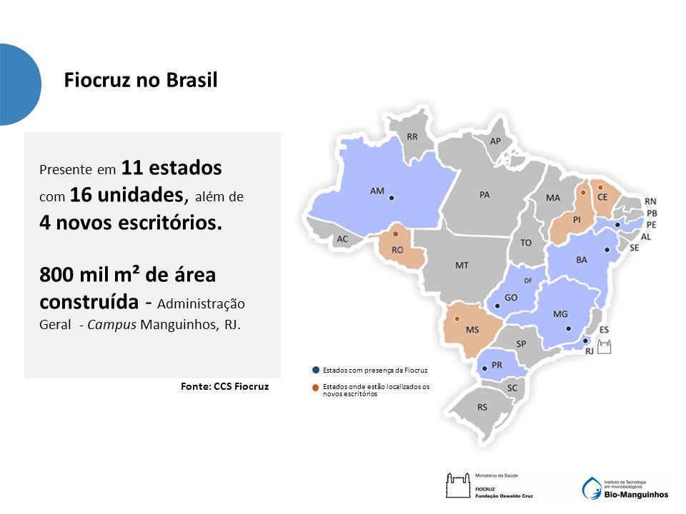 Estados com presença da Fiocruz Estados onde estão localizados os novos escritórios Presente em 11 estados com 16 unidades, além de 4 novos escritórios.