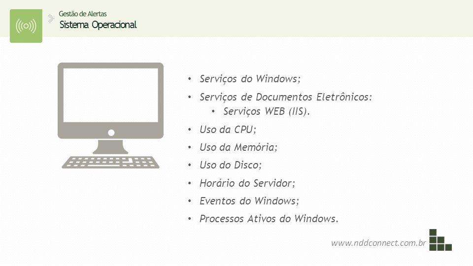 Sistema Operacional www.nddconnect.com.br Serviços do Windows; Serviços de Documentos Eletrônicos: Serviços WEB (IIS). Uso da CPU; Uso da Memória; Uso
