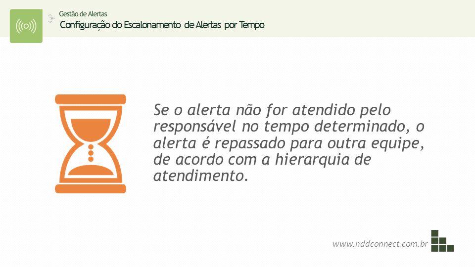 Se o alerta não for atendido pelo responsável no tempo determinado, o alerta é repassado para outra equipe, de acordo com a hierarquia de atendimento.