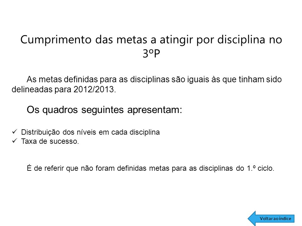 Cumprimento das metas a atingir por disciplina no 3ºP As metas definidas para as disciplinas são iguais às que tinham sido delineadas para 2012/2013.