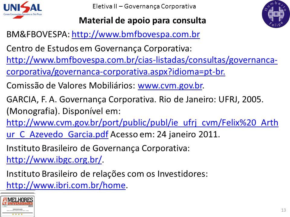 Eletiva II – Governança Corporativa 13 Material de apoio para consulta BM&FBOVESPA: http://www.bmfbovespa.com.brhttp://www.bmfbovespa.com.br Centro de