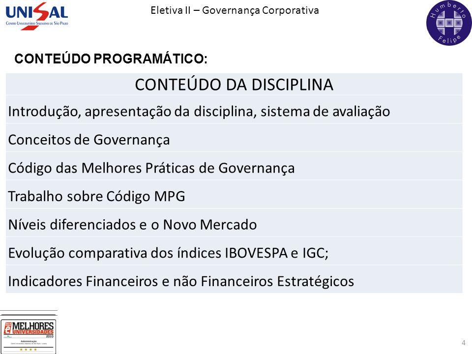 Eletiva II – Governança Corporativa 4 CONTEÚDO PROGRAMÁTICO: CONTEÚDO DA DISCIPLINA Introdução, apresentação da disciplina, sistema de avaliação Conce
