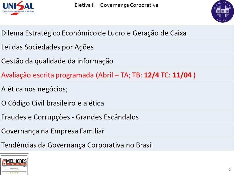 Eletiva II – Governança Corporativa 5 Dilema Estratégico Econômico de Lucro e Geração de Caixa Lei das Sociedades por Ações Gestão da qualidade da inf