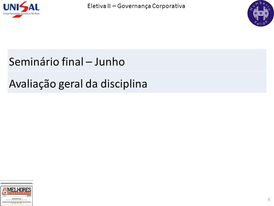 Eletiva II – Governança Corporativa 6 Seminário final – Junho Avaliação geral da disciplina