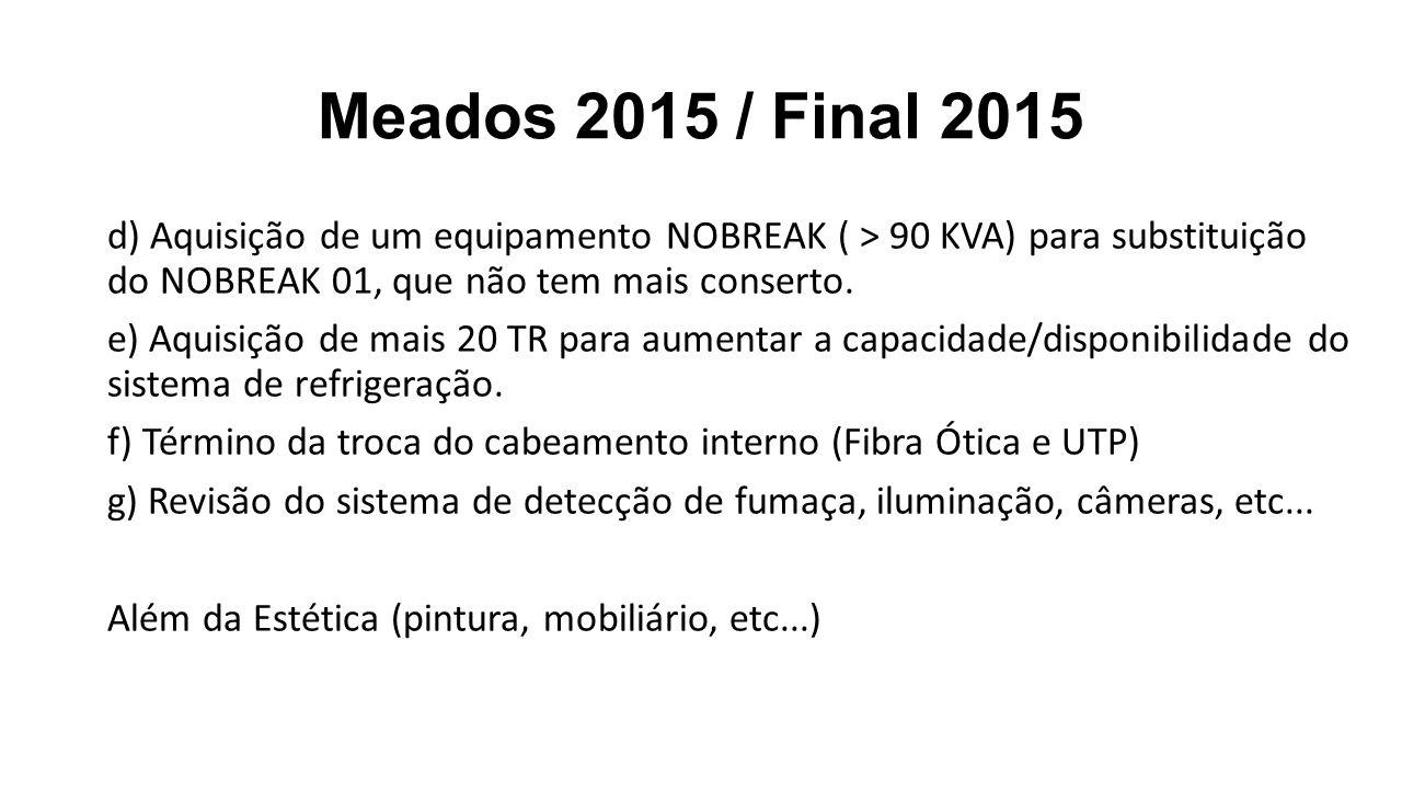 Meados 2015 / Final 2015 d) Aquisição de um equipamento NOBREAK ( > 90 KVA) para substituição do NOBREAK 01, que não tem mais conserto. e) Aquisição d