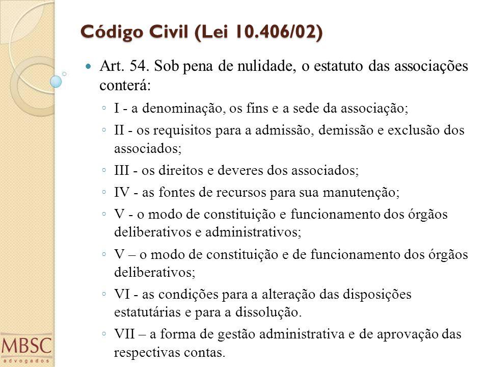 Código Civil (Lei 10.406/02) Art. 54. Sob pena de nulidade, o estatuto das associações conterá: ◦ I - a denominação, os fins e a sede da associação; ◦