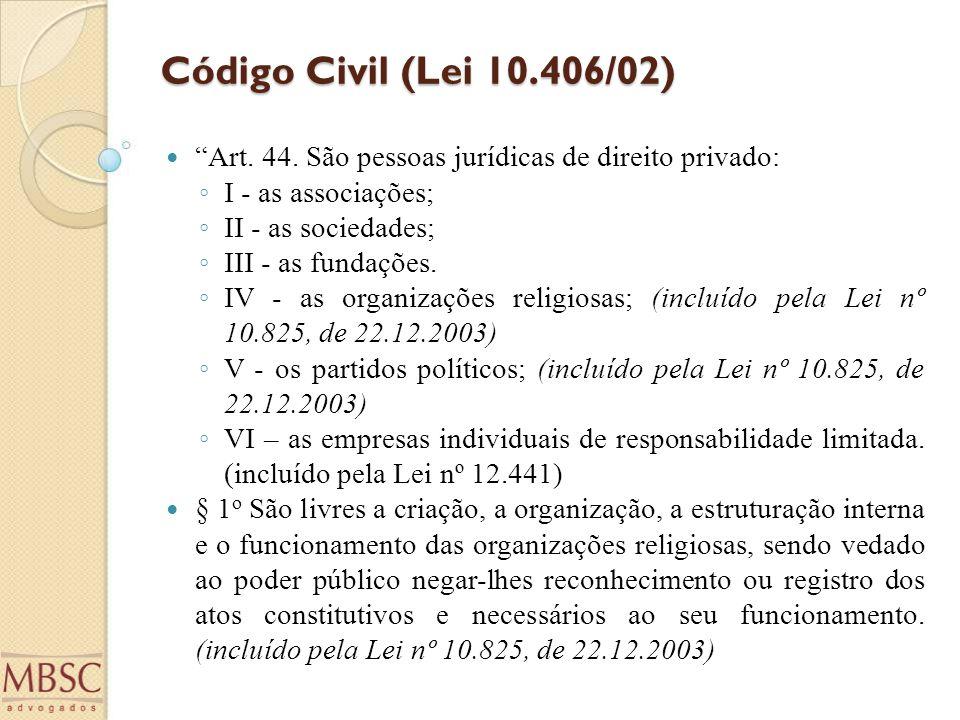 """Código Civil (Lei 10.406/02) """"Art. 44. São pessoas jurídicas de direito privado: ◦ I - as associações; ◦ II - as sociedades; ◦ III - as fundações. ◦ I"""