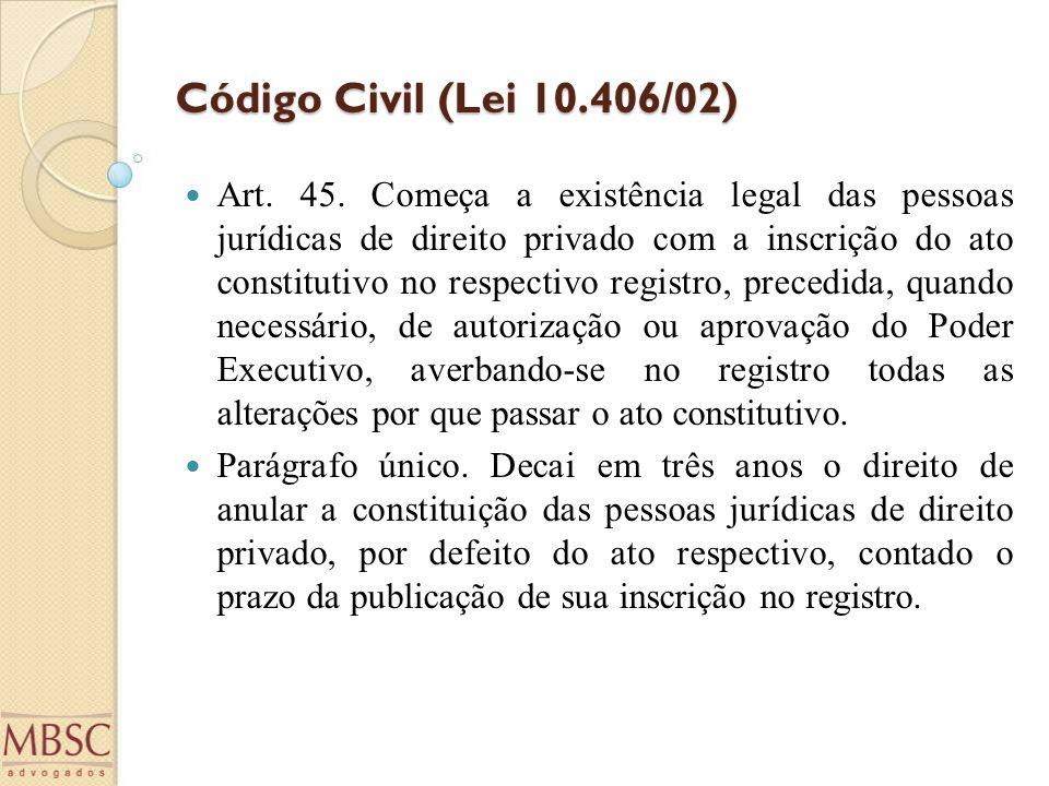 Código Civil (Lei 10.406/02) Art. 45. Começa a existência legal das pessoas jurídicas de direito privado com a inscrição do ato constitutivo no respec