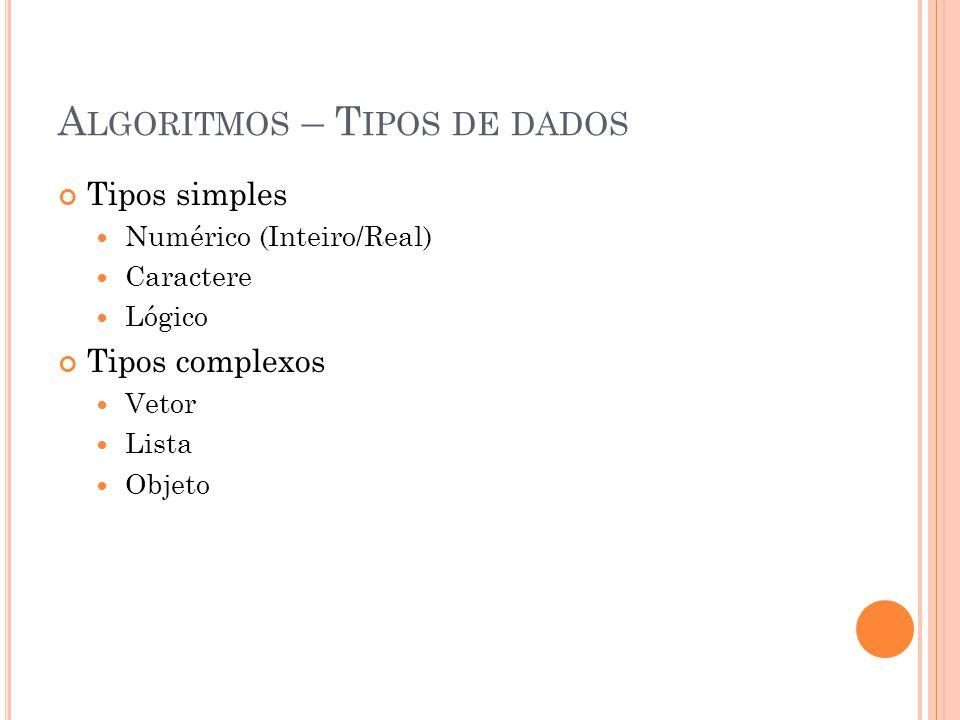 A LGORITMOS – T IPOS DE DADOS Tipos simples Numérico (Inteiro/Real) Caractere Lógico Tipos complexos Vetor Lista Objeto