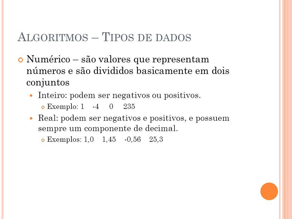 A LGORITMOS – T IPOS DE DADOS Numérico – são valores que representam números e são divididos basicamente em dois conjuntos Inteiro: podem ser negativo