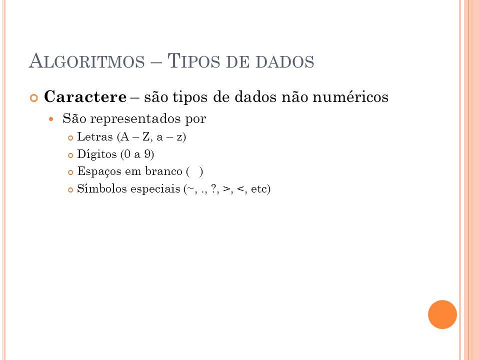 A LGORITMOS – T IPOS DE DADOS Caractere – são tipos de dados não numéricos São representados por Letras (A – Z, a – z) Dígitos (0 a 9) Espaços em bran