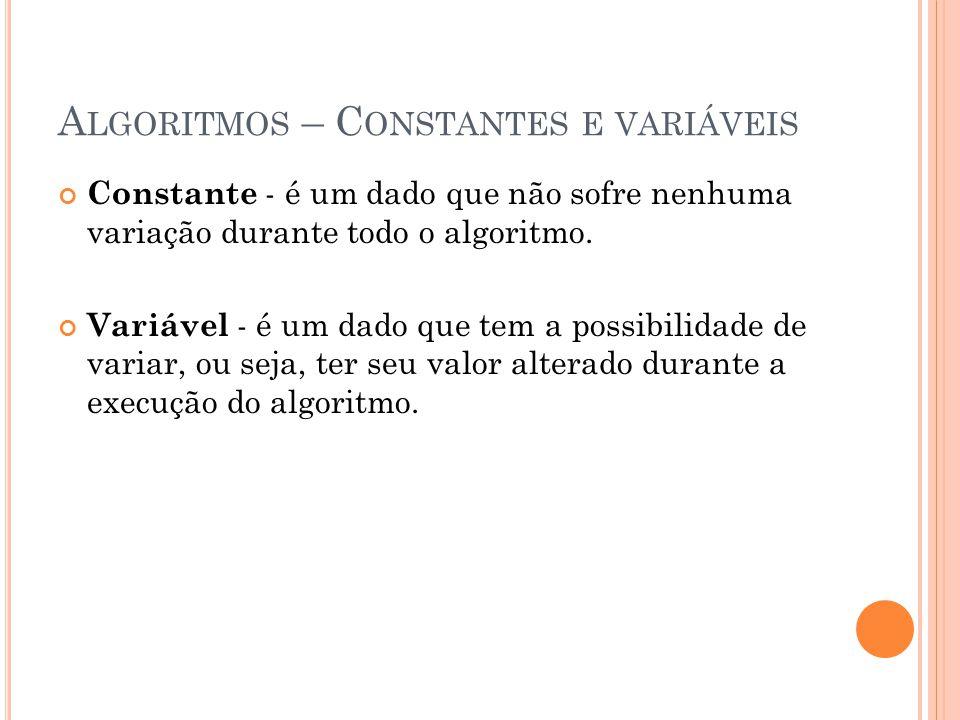 A LGORITMOS – C ONSTANTES E VARIÁVEIS Constante - é um dado que não sofre nenhuma variação durante todo o algoritmo. Variável - é um dado que tem a po
