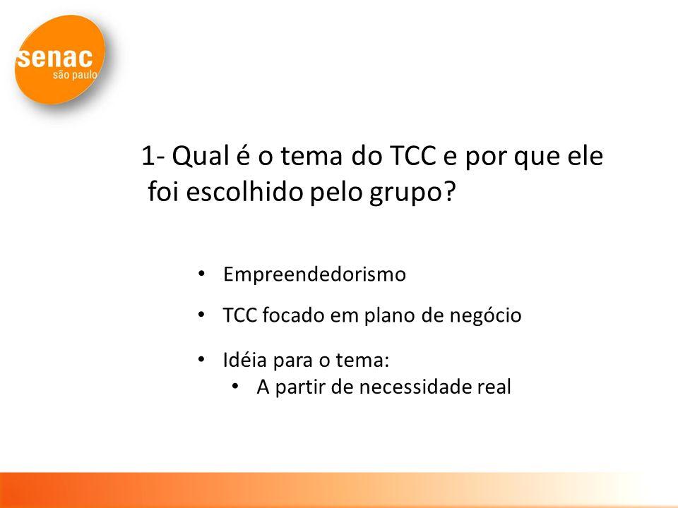 Idéia para o tema: A partir de necessidade real 1- Qual é o tema do TCC e por que ele foi escolhido pelo grupo? Empreendedorismo TCC focado em plano d