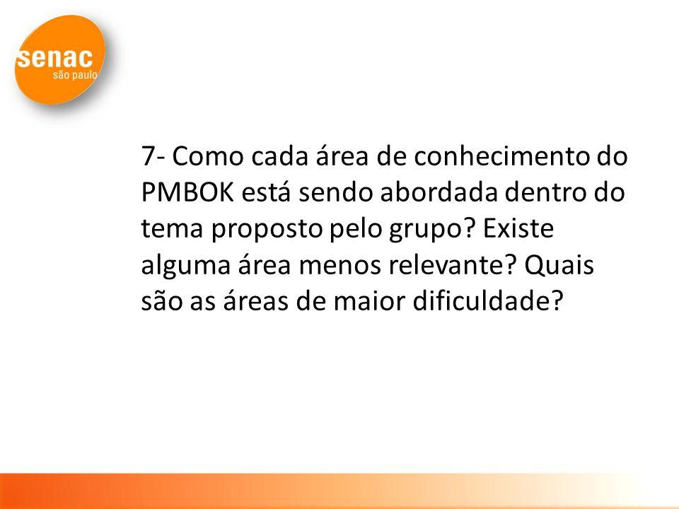 7- Como cada área de conhecimento do PMBOK está sendo abordada dentro do tema proposto pelo grupo.