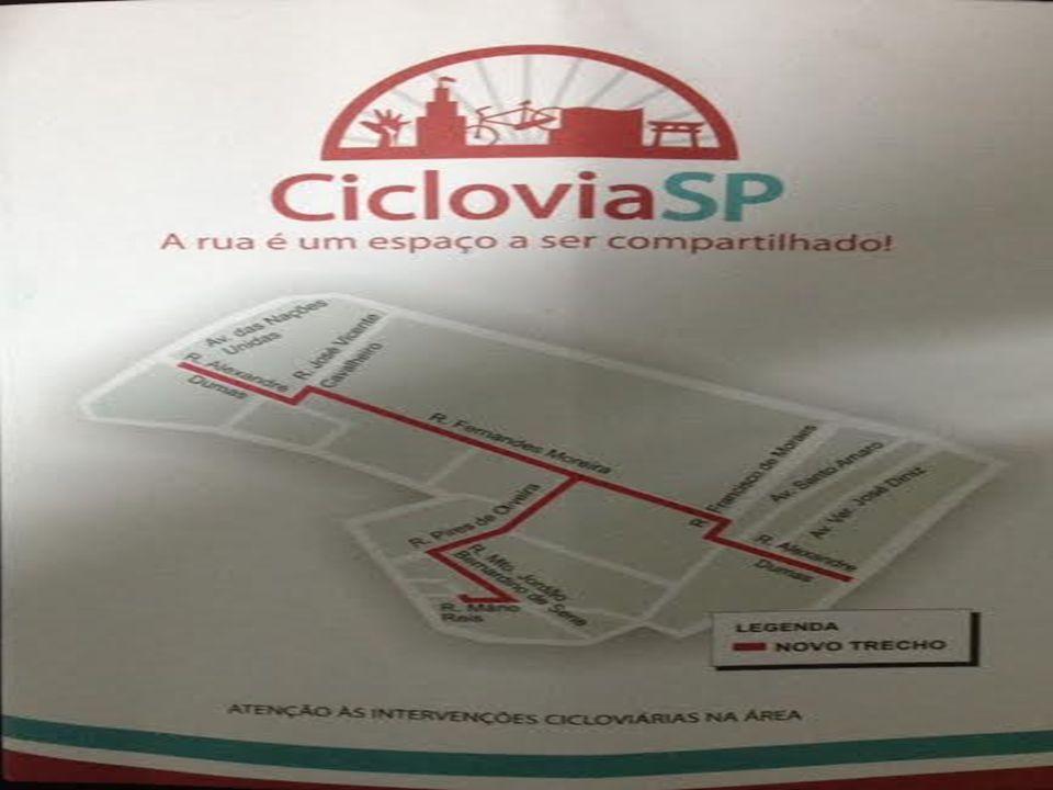 A Ciclovia da Rua Fernandes Moreira está em desacordo com o projeto/traçado original e mapa das ciclorrotas divulgados pela CET.