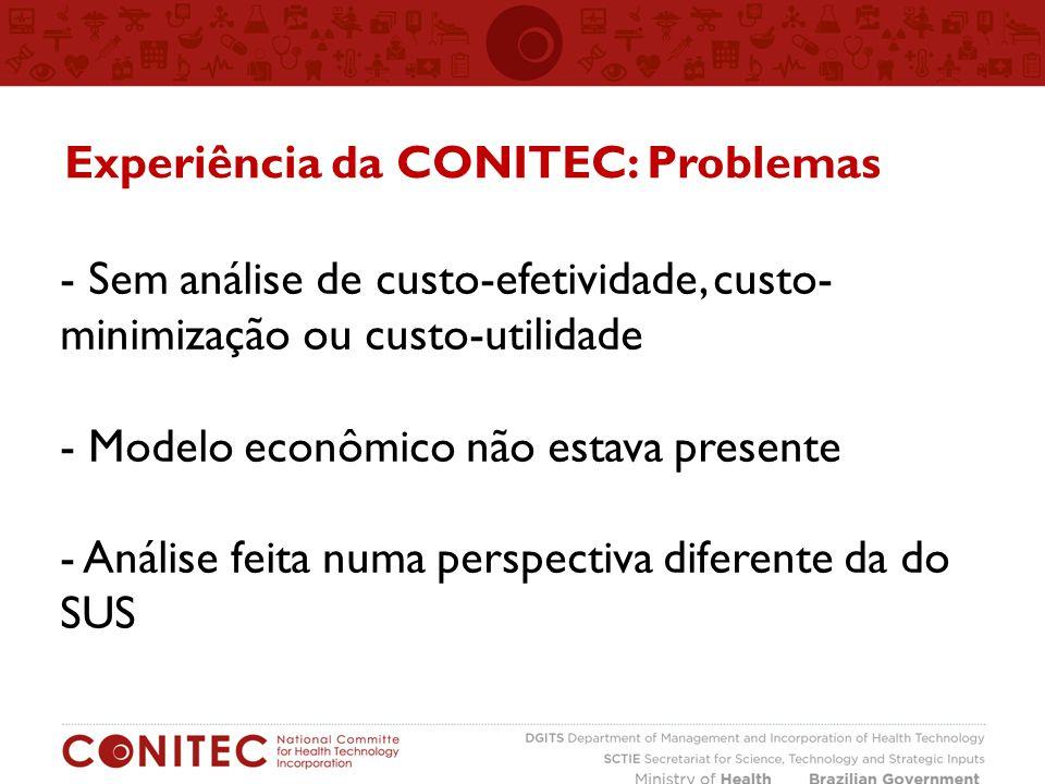 - Sem análise de custo-efetividade, custo- minimização ou custo-utilidade - Modelo econômico não estava presente - Análise feita numa perspectiva diferente da do SUS Experiência da CONITEC: Problemas