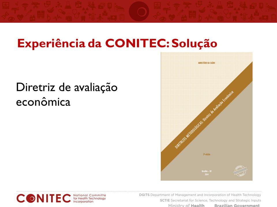 Diretriz de avaliação econômica Experiência da CONITEC: Solução
