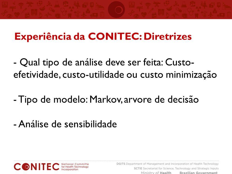 - Qual tipo de análise deve ser feita: Custo- efetividade, custo-utilidade ou custo minimização - Tipo de modelo: Markov, arvore de decisão - Análise de sensibilidade Experiência da CONITEC: Diretrizes