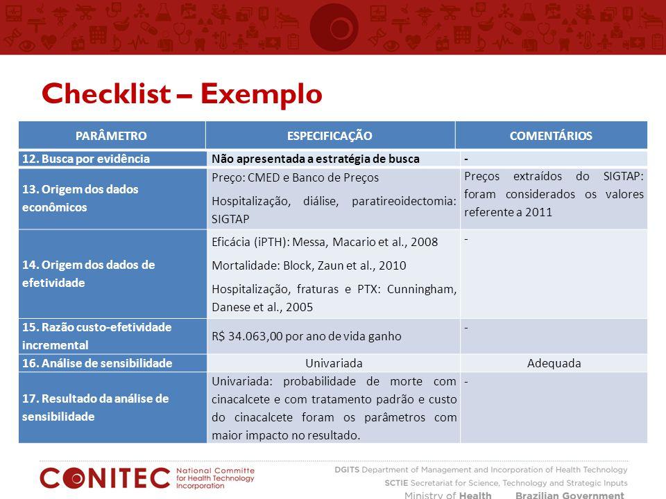 Checklist – Exemplo 12. Busca por evidênciaNão apresentada a estratégia de busca - 13. Origem dos dados econômicos Preço: CMED e Banco de Preços Hospi