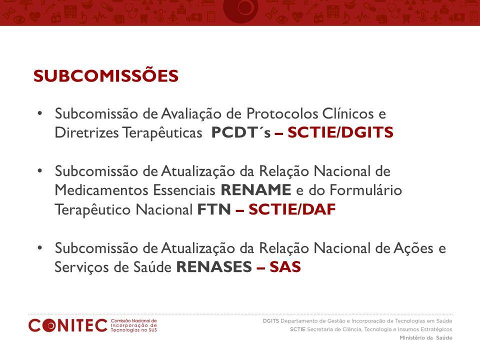 Subcomissão de Avaliação de Protocolos Clínicos e Diretrizes Terapêuticas PCDT´s – SCTIE/DGITS Subcomissão de Atualização da Relação Nacional de Medic