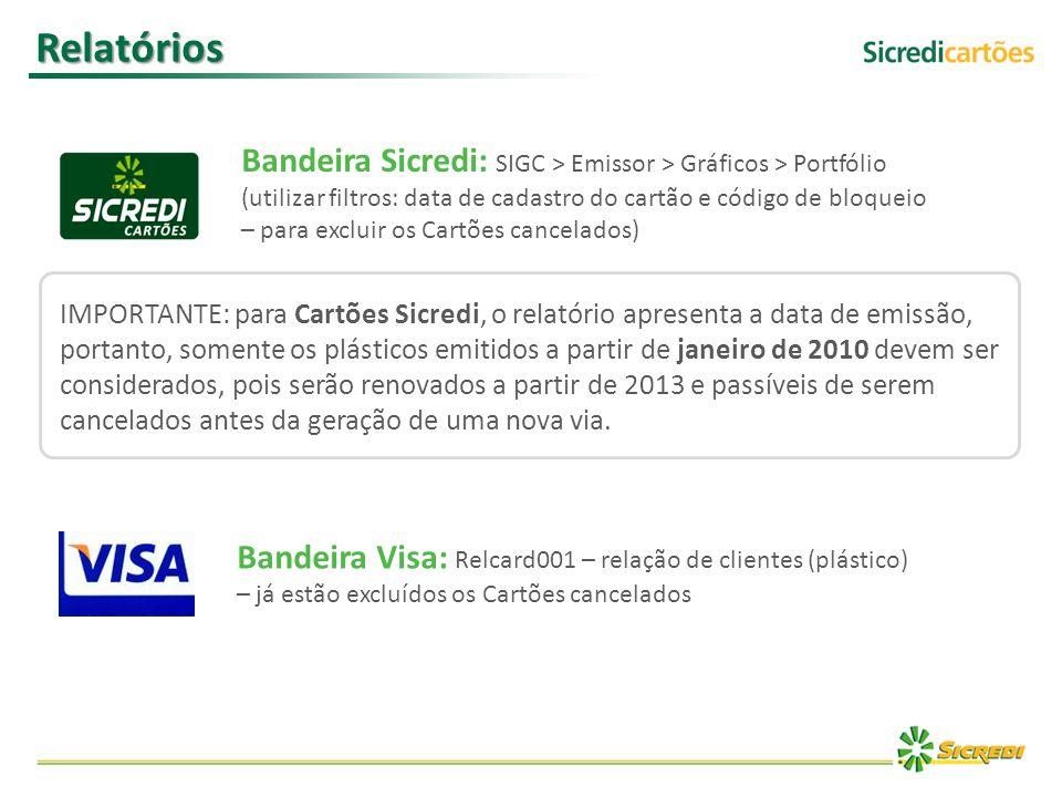 Relatórios Bandeira Visa: Relcard001 – relação de clientes (plástico) – já estão excluídos os Cartões cancelados Bandeira Sicredi: SIGC > Emissor > Gr