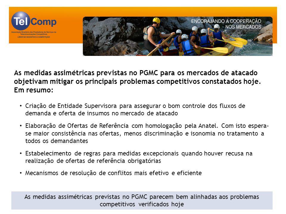 As medidas assimétricas previstas no PGMC para os mercados de atacado objetivam mitigar os principais problemas competitivos constatados hoje.
