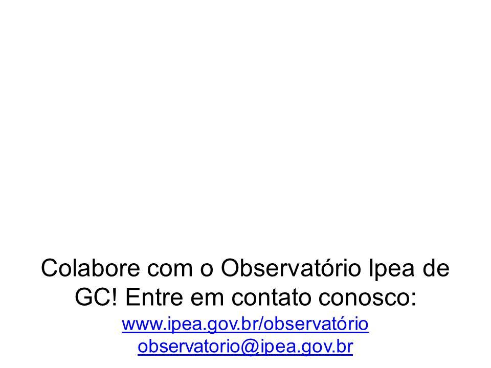 Colabore com o Observatório Ipea de GC! Entre em contato conosco: www.ipea.gov.br/observatório observatorio@ipea.gov.br