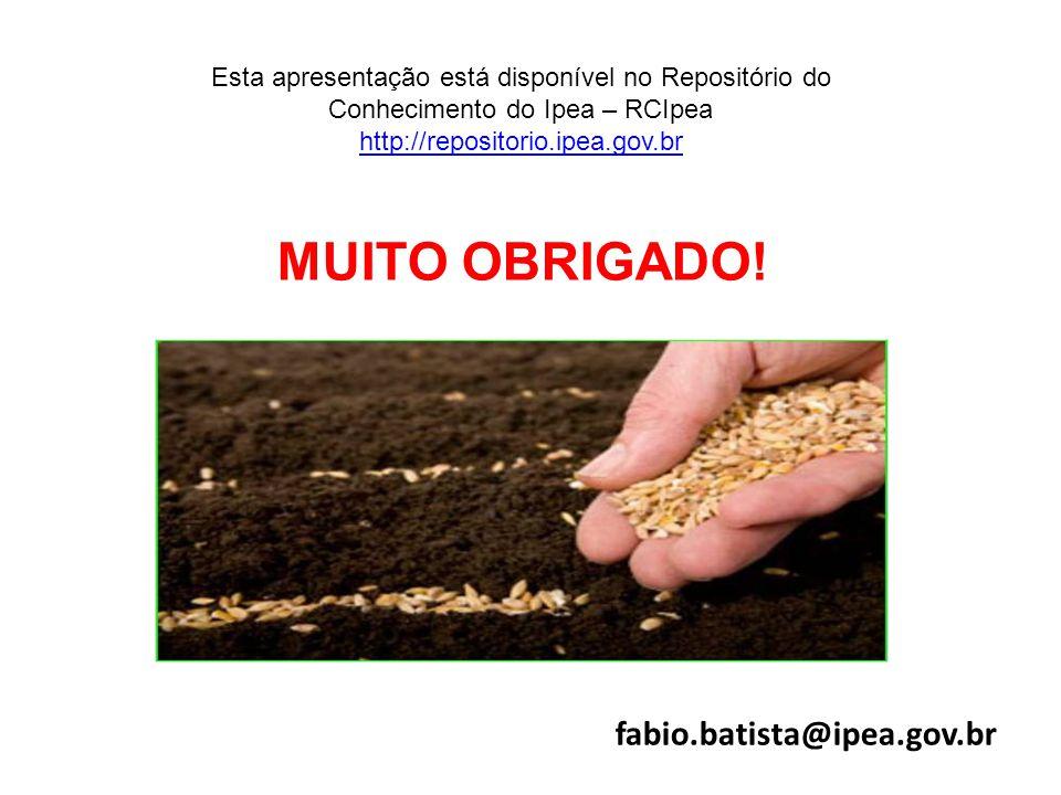 MUITO OBRIGADO! 154 fabio.batista@ipea.gov.br Esta apresentação está disponível no Repositório do Conhecimento do Ipea – RCIpea http://repositorio.ipe