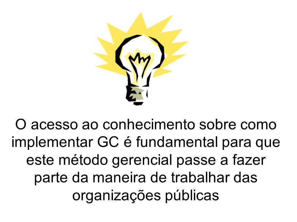 O acesso ao conhecimento sobre como implementar GC é fundamental para que este método gerencial passe a fazer parte da maneira de trabalhar das organi
