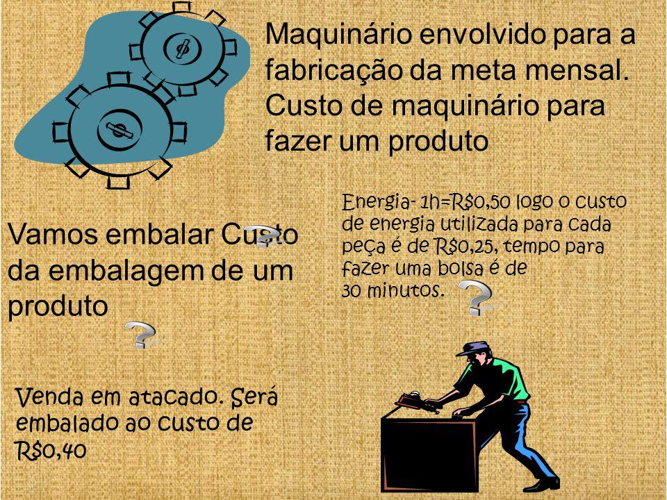 Maquinário envolvido para a fabricação da meta mensal. Custo de maquinário para fazer um produto Energia- 1h=R$0,50 logo o custo de energia utilizada